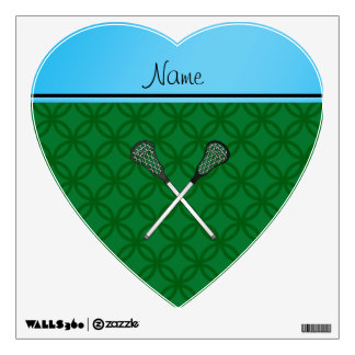 Personalized name lacrosse sticks green circles room decal
