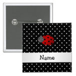 Personalized name ladybug black polka dots 2 inch square button