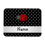 Personalized name ladybug black polka dots rectangular magnet