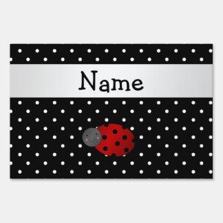 Personalized name ladybug black polka dots lawn signs