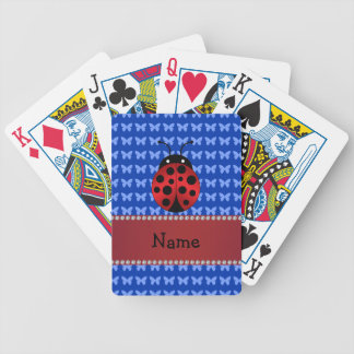 Personalized name ladybug blue butterflies bicycle playing cards