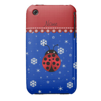 Personalized name ladybug blue snowflakes iPhone 3 covers