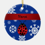 Personalized name ladybug blue snowflakes ornament