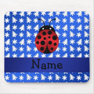 Personalized name ladybug blue snowflakes trees mousepad