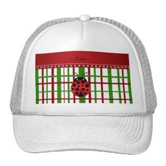 Personalized name ladybug christmas plaid trucker hat