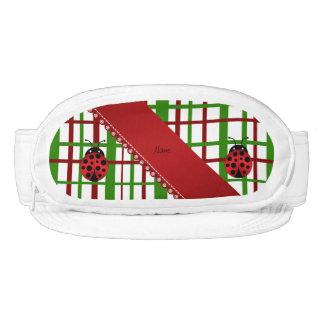 Personalized name ladybug christmas plaid visor