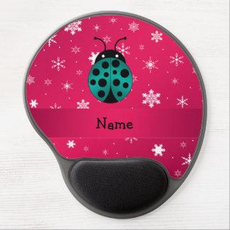 Personalized name ladybug dark pink snowflakes gel mousepad