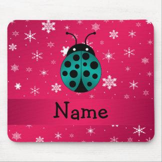 Personalized name ladybug dark pink snowflakes mousepad