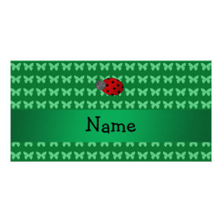 Personalized name ladybug green butterflies customized photo card