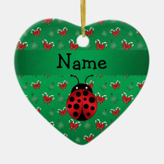 Personalized name ladybug green candy canes bows ceramic ornament