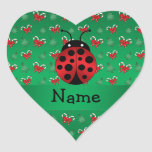 Personalized name ladybug green candy canes bows heart sticker