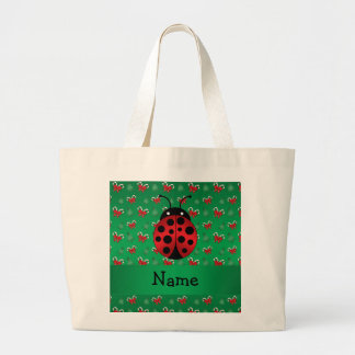 Personalized name ladybug green candy canes bows jumbo tote bag
