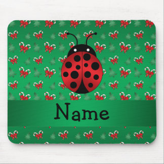 Personalized name ladybug green candy canes bows mouse pad