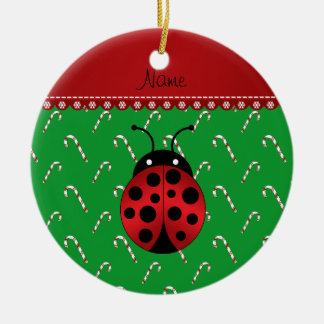 Personalized name ladybug green candy canes ceramic ornament