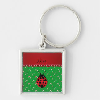 Personalized name ladybug green candy canes keychain