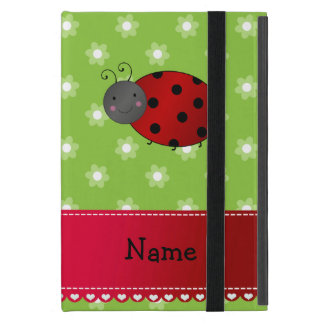 Personalized name ladybug green flowers cover for iPad mini