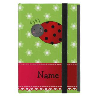 Personalized name ladybug green flowers iPad mini cover