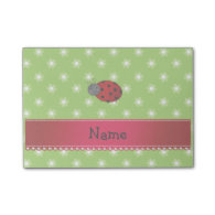 Personalized name ladybug green flowers post-it® notes