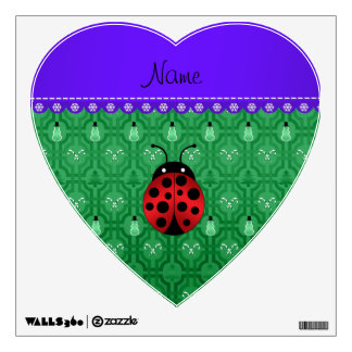 Personalized name ladybug green snowmen wall decal