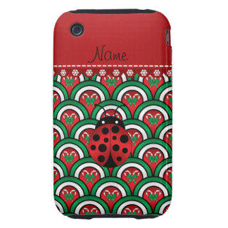 Personalized name ladybug half circles candy canes iPhone 3 tough cover