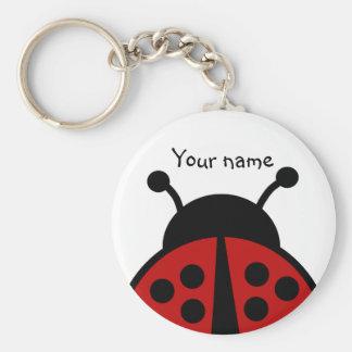 Personalized name ladybug keychain