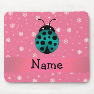 Personalized name ladybug light pink snowflakes mouse pads