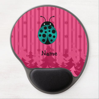 Personalized name ladybug pink christmas trees gel mouse pads