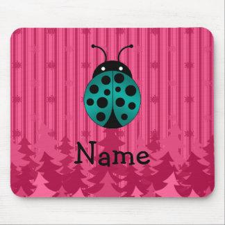 Personalized name ladybug pink christmas trees mousepad