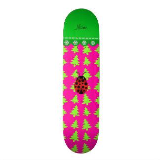 Personalized name ladybug pink green trees skateboard