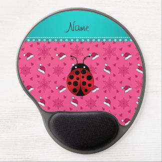 Personalized name ladybug pink santa hats gel mouse pad