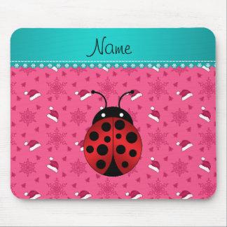 Personalized name ladybug pink santa hats mouse pad