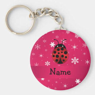 Personalized name ladybug pink snowflakes basic round button keychain