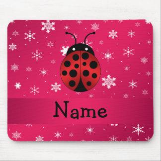 Personalized name ladybug pink snowflakes mousepad