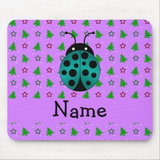 Personalized name ladybug purple christmas trees mouse pad