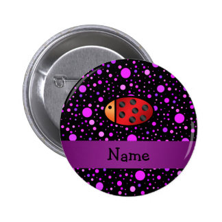 Personalized name ladybug purple polka dots 2 inch round button