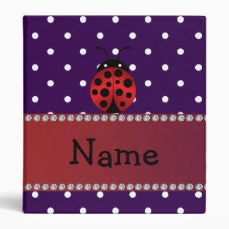Personalized name ladybug purple polka dots 3 ring binder