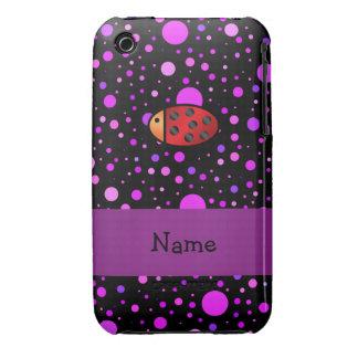 Personalized name ladybug purple polka dots Case-Mate iPhone 3 case