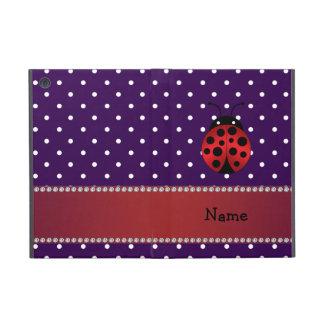 Personalized name ladybug purple polka dots iPad mini cases