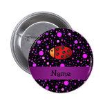 Personalized name ladybug purple polka dots pin