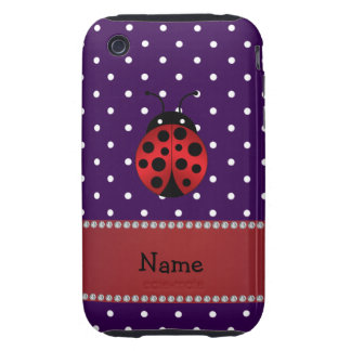 Personalized name ladybug purple polka dots tough iPhone 3 cover