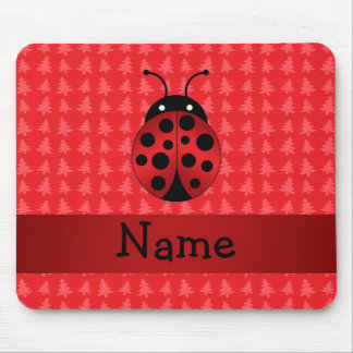 Personalized name ladybug red christmas trees mousepads