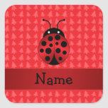 Personalized name ladybug red christmas trees square sticker