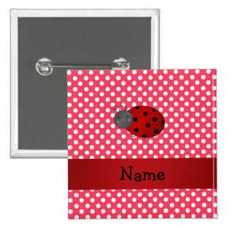 Personalized name ladybug red polka dots pin