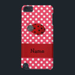 "Personalized name ladybug red polka dots iPod touch (5th generation) case<br><div class=""desc"">Cute ladybug gift ideas. Create your own custom Personalized just add name, monogram, or initials or saying on your cute cartoon ladybug with red white polka dots pattern background and red stripe. Cute ladybug gift ideas for kids. Ideal for birthday parties and holidays. If you hit the customize it button...</div>"