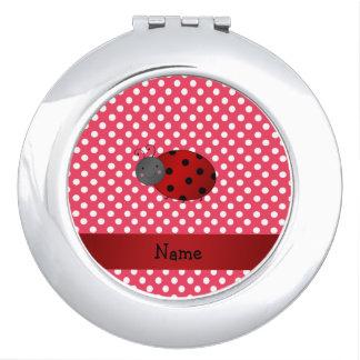 Personalized name ladybug red polka dots vanity mirror