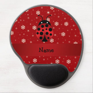 Personalized name ladybug red snowflakes gel mouse pads