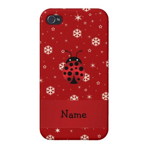 Personalized name ladybug red snowflakes cover for iPhone 4