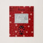 Personalized name ladybug red snowflakes jigsaw puzzle