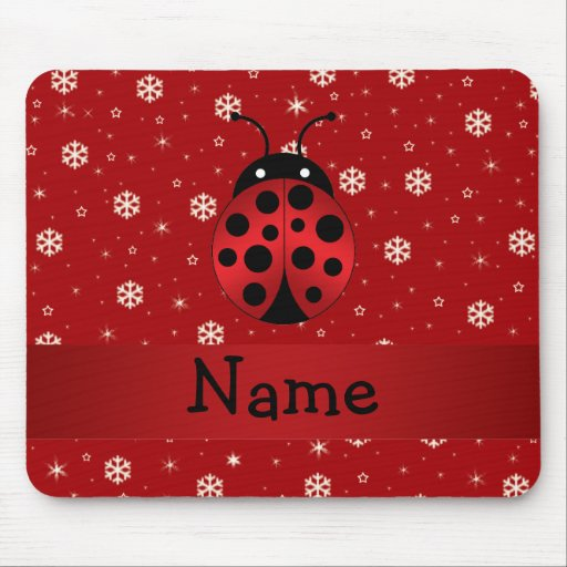 Personalized name ladybug red snowflakes mouse pads