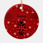 Personalized name ladybug red snowflakes Double-Sided ceramic round christmas ornament